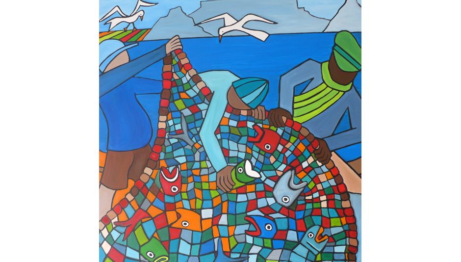 Table Mountain Fishing - 150 X 150 cm - oil on canvas